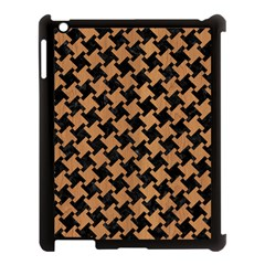 Houndstooth2 Black Marble & Light Maple Wood Apple Ipad 3/4 Case (black) by trendistuff