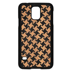 Houndstooth2 Black Marble & Light Maple Wood Samsung Galaxy S5 Case (black) by trendistuff