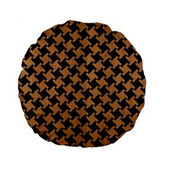 Houndstooth2 Black Marble & Light Maple Wood Standard 15  Premium Flano Round Cushions by trendistuff