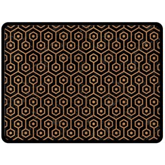 Hexagon1 Black Marble & Light Maple Wood Double Sided Fleece Blanket (large)  by trendistuff