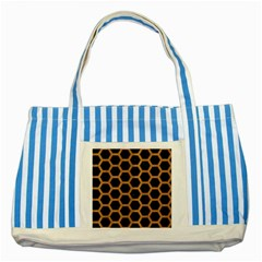 Hexagon2 Black Marble & Light Maple Wood Striped Blue Tote Bag by trendistuff