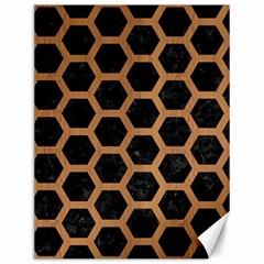 Hexagon2 Black Marble & Light Maple Wood Canvas 12  X 16   by trendistuff