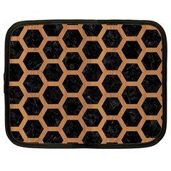 Hexagon2 Black Marble & Light Maple Wood Netbook Case (large) by trendistuff
