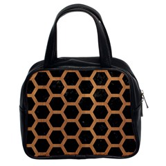 Hexagon2 Black Marble & Light Maple Wood Classic Handbags (2 Sides) by trendistuff