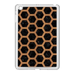 Hexagon2 Black Marble & Light Maple Wood Apple Ipad Mini Case (white) by trendistuff
