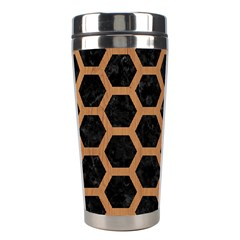 Hexagon2 Black Marble & Light Maple Wood Stainless Steel Travel Tumblers by trendistuff