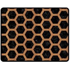 Hexagon2 Black Marble & Light Maple Wood Double Sided Fleece Blanket (medium)  by trendistuff