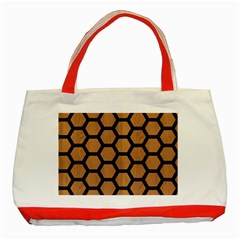 Hexagon2 Black Marble & Light Maple Wood (r) Classic Tote Bag (red) by trendistuff