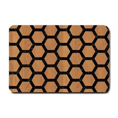 Hexagon2 Black Marble & Light Maple Wood (r) Small Doormat  by trendistuff
