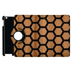 Hexagon2 Black Marble & Light Maple Wood (r) Apple Ipad 3/4 Flip 360 Case by trendistuff