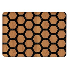Hexagon2 Black Marble & Light Maple Wood (r) Samsung Galaxy Tab 8 9  P7300 Flip Case by trendistuff