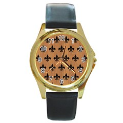 Royal1 Black Marble & Light Maple Wood Round Gold Metal Watch by trendistuff