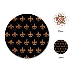Royal1 Black Marble & Light Maple Wood (r) Playing Cards (round)  by trendistuff