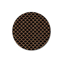 Scales1 Black Marble & Light Maple Wood Magnet 3  (round) by trendistuff