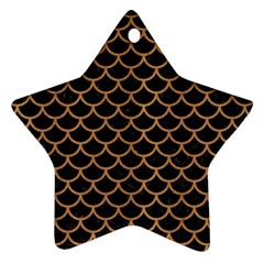 Scales1 Black Marble & Light Maple Wood Star Ornament (two Sides) by trendistuff