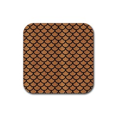 Scales1 Black Marble & Light Maple Wood (r) Rubber Square Coaster (4 Pack)  by trendistuff