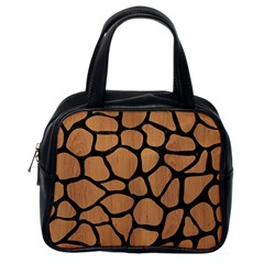 Skin1 Black Marble & Light Maple Wood Classic Handbags (one Side) by trendistuff