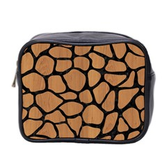 Skin1 Black Marble & Light Maple Wood Mini Toiletries Bag 2 Side by trendistuff