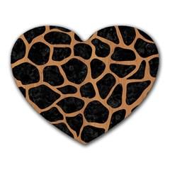 Skin1 Black Marble & Light Maple Wood (r) Heart Mousepads by trendistuff