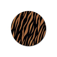 Skin3 Black Marble & Light Maple Wood Rubber Coaster (round)  by trendistuff