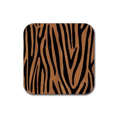 Skin4 Black Marble & Light Maple Wood Rubber Square Coaster (4 Pack)  by trendistuff