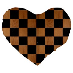 Square1 Black Marble & Light Maple Wood Large 19  Premium Flano Heart Shape Cushions by trendistuff