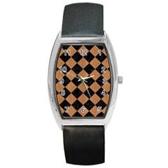 Square2 Black Marble & Light Maple Wood Barrel Style Metal Watch by trendistuff