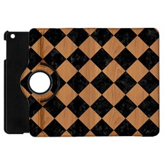 Square2 Black Marble & Light Maple Wood Apple Ipad Mini Flip 360 Case by trendistuff