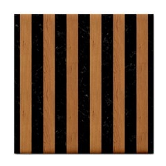 Stripes1 Black Marble & Light Maple Wood Tile Coasters by trendistuff