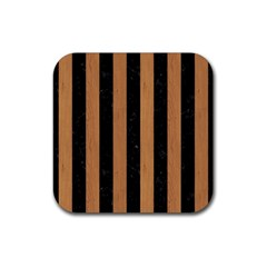 Stripes1 Black Marble & Light Maple Wood Rubber Square Coaster (4 Pack)  by trendistuff