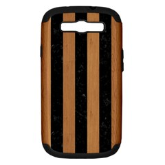 Stripes1 Black Marble & Light Maple Wood Samsung Galaxy S Iii Hardshell Case (pc+silicone) by trendistuff