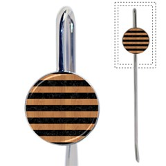 Stripes2 Black Marble & Light Maple Wood Book Mark by trendistuff