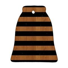 Stripes2 Black Marble & Light Maple Wood Ornament (bell) by trendistuff