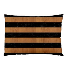 Stripes2 Black Marble & Light Maple Wood Pillow Case (two Sides) by trendistuff