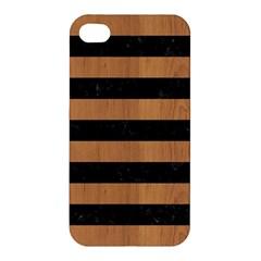 Stripes2 Black Marble & Light Maple Wood Apple Iphone 4/4s Premium Hardshell Case