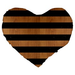 Stripes2 Black Marble & Light Maple Wood Large 19  Premium Flano Heart Shape Cushions by trendistuff