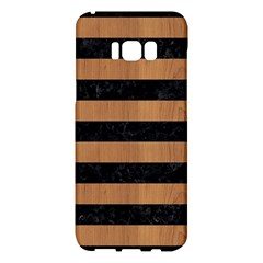 Stripes2 Black Marble & Light Maple Wood Samsung Galaxy S8 Plus Hardshell Case  by trendistuff