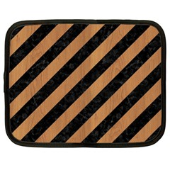 Stripes3 Black Marble & Light Maple Wood Netbook Case (xl)