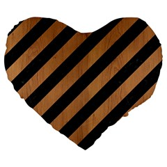 Stripes3 Black Marble & Light Maple Wood Large 19  Premium Heart Shape Cushions by trendistuff