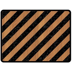 Stripes3 Black Marble & Light Maple Wood Double Sided Fleece Blanket (large)  by trendistuff