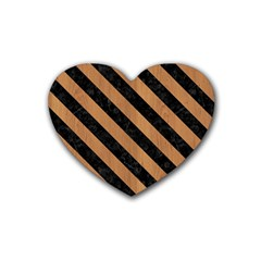 Stripes3 Black Marble & Light Maple Wood (r) Rubber Coaster (heart)  by trendistuff