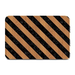 Stripes3 Black Marble & Light Maple Wood (r) Plate Mats by trendistuff