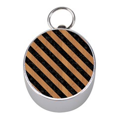 Stripes3 Black Marble & Light Maple Wood (r) Mini Silver Compasses by trendistuff