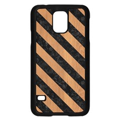 Stripes3 Black Marble & Light Maple Wood (r) Samsung Galaxy S5 Case (black) by trendistuff
