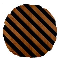 Stripes3 Black Marble & Light Maple Wood (r) Large 18  Premium Flano Round Cushions by trendistuff