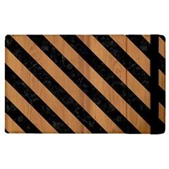 Stripes3 Black Marble & Light Maple Wood (r) Apple Ipad Pro 9 7   Flip Case by trendistuff