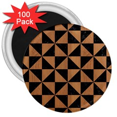 Triangle1 Black Marble & Light Maple Wood 3  Magnets (100 Pack) by trendistuff