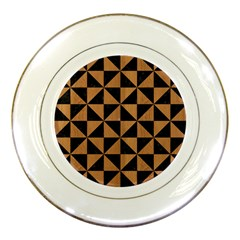 Triangle1 Black Marble & Light Maple Wood Porcelain Plates by trendistuff