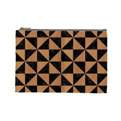 Triangle1 Black Marble & Light Maple Wood Cosmetic Bag (large)  by trendistuff
