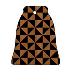 Triangle1 Black Marble & Light Maple Wood Bell Ornament (two Sides) by trendistuff